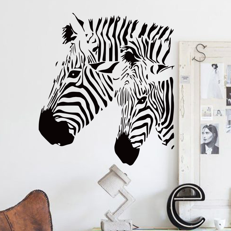 Art design cheap home decor vinyl beautiful zebra wall sticker waterproof  PVC house decor animal horse