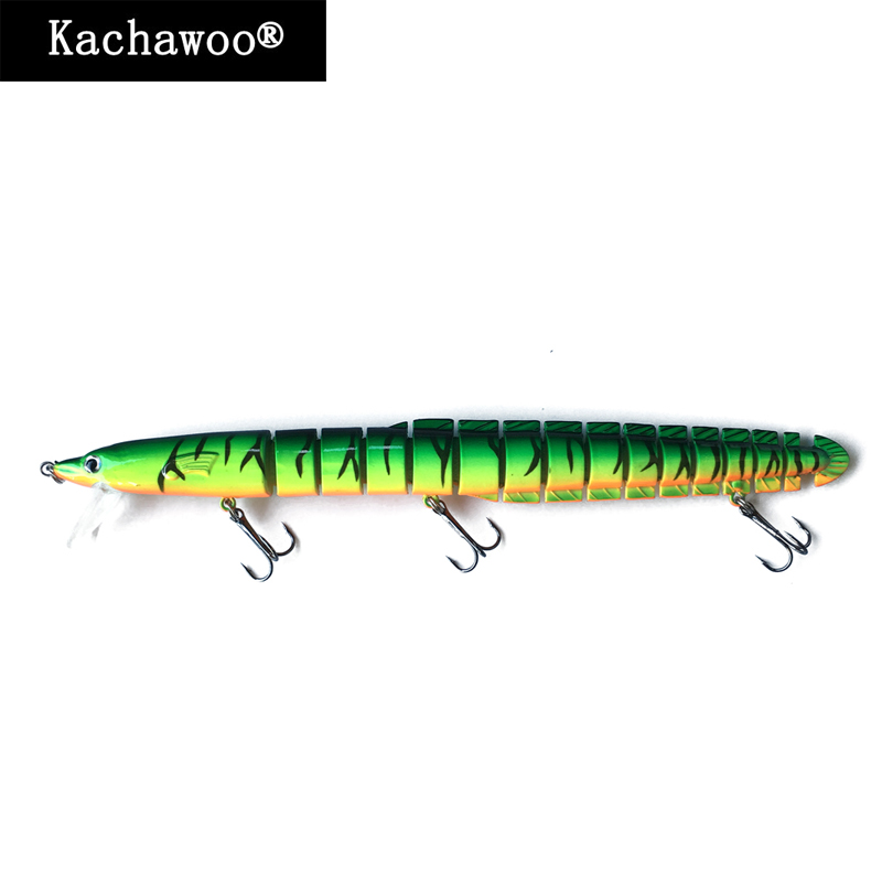 Eel Fishing Lure Artificial Eels Swimbait 15 Section 8 inch 34g Fire Tiger Fish Hard Bait with Lip Tongue and Sharp treble hooks