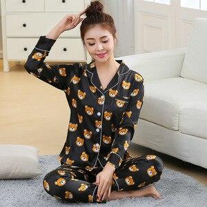 Image 3 - Nieuwe Mode Mannen Pyjama Sets Lente Herfst Pyjama Set Nachtkleding Lange Mouwen Cartoon Liefhebbers Homewear Koppels Zijn En Haar Kleding