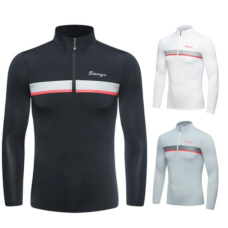 Outdoor Mens Summer Golf Shirt Long Sleeve Zipper Neck Underwear Golf Shirt Sunscreen Uv Ice T-Shirts Golf Clothing D1076