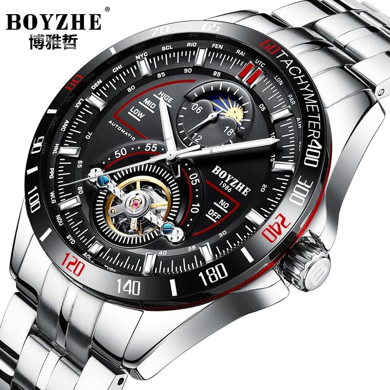 цена на BOYZHE Mechanical Watches Stainless Steel Band Sport Automatic Tourbillon Watch Men Moon Phase Calendar Luminous Montre Homme