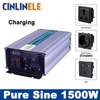 Смарт инверторы зарядки 1500 Вт чистая синусоида инверторы CLP1500A DC 12 В 24 В 48 В к AC 110 В 220 В 1500 Вт Surge Мощность 3000 Вт