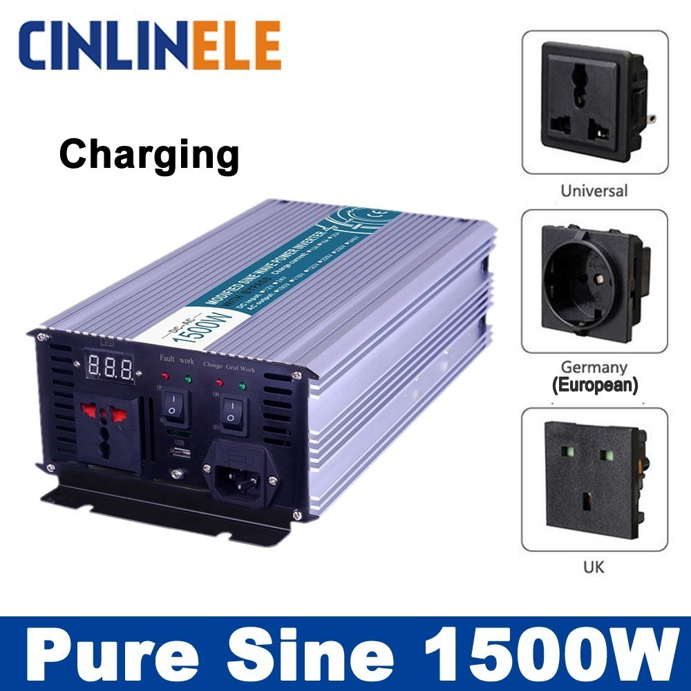 цена на Smart Inverters Charging 1500W Pure Sine Wave Inverters CLP1500A DC 12V 24V 48V to AC 110V 220V 1500W Surge Power 3000W
