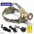 3000 Lumen CREE XM-L T6 LED Camouflage Headlamp Headlight Head Torch camping Lamp Light +2x Battery+Car EU/US/AU/UK Plug Charger