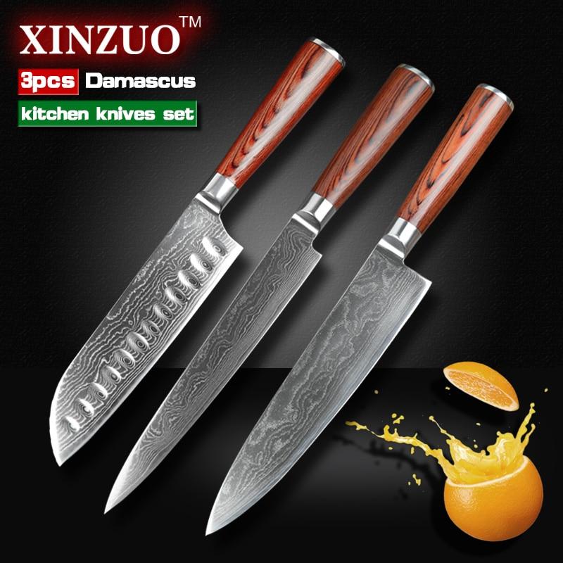 3 pcs Kitche font b knives b font set Japanese 73 layers Damascus steel kitchen font