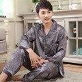 Осень Шелковый Атлас Пижамы Роскошные Пижамы для Мужчин Пижамы Кардиганы мужская Сна Гостиная Шелк Пижамы Устанавливает 3XL
