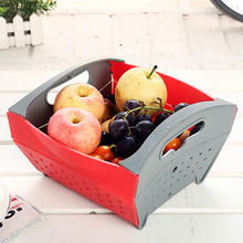 Kitchen Foldable Draining Basket Container Plastic Fruit Vegetables Drying Tray Holder Drainer Rack Kitchen Organizer