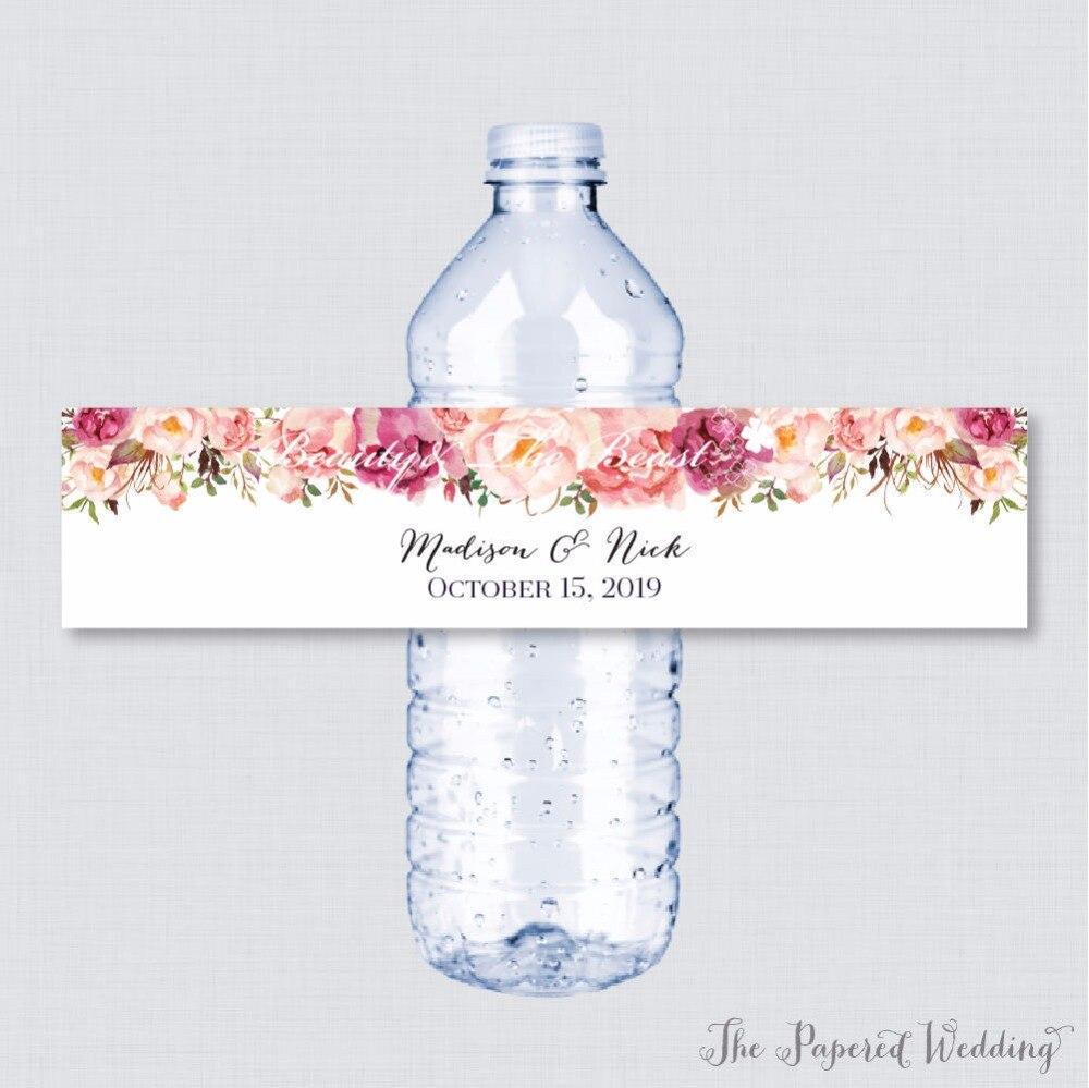 Wedding Bottle Water Labels,Wedding Bottle Wrappers Pink Flower Custom Water Bottle Labels Personal Wedding Party Decorations 03