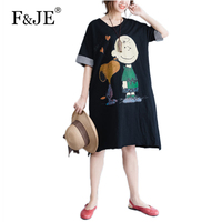 F JE 2017 New Korean Style Women Loose Casual Short Sleeve Dress High Quality Cartoon Print