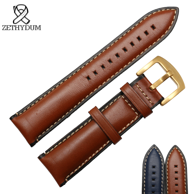 Leather bracelet Genuine leather stitched watch strap 20 22 24mm mens wristwatches band blue brown color watch belt pin clasp