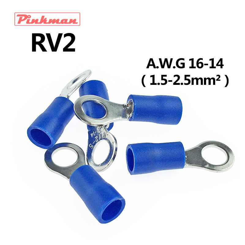 RV2.5 Ring insulated terminal cable Crimp Terminal 1.5-2.5mm2 Cable Wire Connector AWG 16-14 RV2 RV 50pcs 100pcs rv2 6 ring insulated terminal cable wire connector electrical crimp terminal