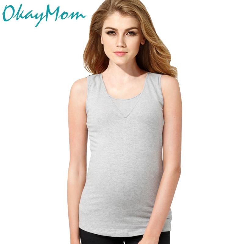 Euro America Casual Maternity Nursing T-shirt Sommar bomull Bröstmatning Tank Top För Gravid Graviditet Sjuksköterska Wear Kläder