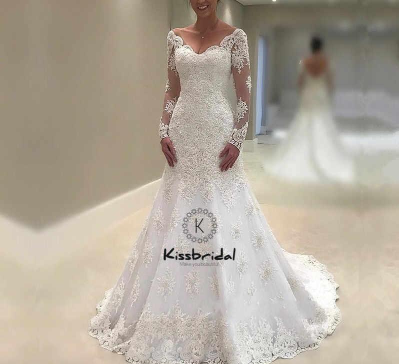 Потрясающие Новые свадебные платья русалки 2018 v-образным вырезом с длинными рукавами со шлейфом, кружевные свадебные платья, Robe de mariee