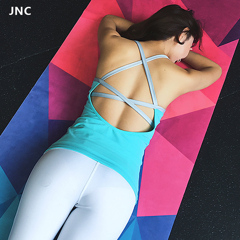 Soft Women Cross Back Yoga Tops Built In Bra Strappy Tank Tops Yoga Fitness Sports Sleeveless Shirts Yoga Gym Workout Vest Shirt