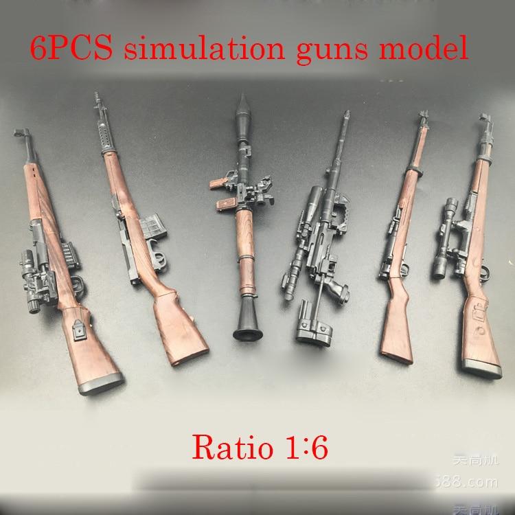 6PCS DIY Nerfs Elite Gun World Famous Gun Model Building Block Set Plastic Toy Kit High Simulation Exquisite Gift For Children