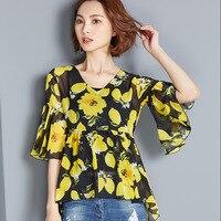 Europe And The United States Summer New Floral Large Size Chiffon Shirt Feminine V Neck Chiffon