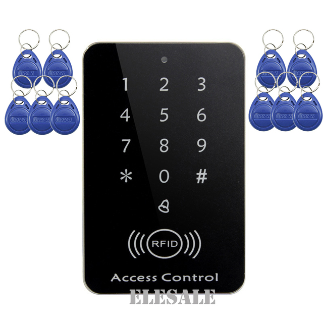 새로운 rfid 근접 입력 도어 잠금 액세스 제어 도어 오프너 시스템 키패드 암호 keyfobs 잠금 해제 + 10 rfid 태그 도매