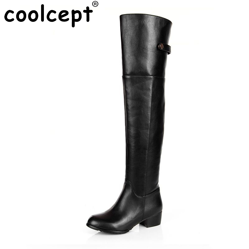 Coolcept Free shipping over knee natrual real genuine leather high heel boots women snow warm boot shoes R2260 EUR size 30-45 цены онлайн