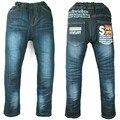 Meninos adolescentes de Jeans fleece aquecido ao ar livre letras imprimir denim Inverno Calças de Veludo Outono criança roupas Halloween MH0317