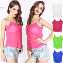 Spring Women Blouse Candy Color Lady Shirts Sexy Chiffon Blouse Spagetti Strap Vest Tops B11