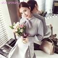 Новая мода женщины шифон рубашка Корея новый темперамент элегантный лук раза с длинными рукавами шифона рубашку тонкий рубашка все-матч, HH0025