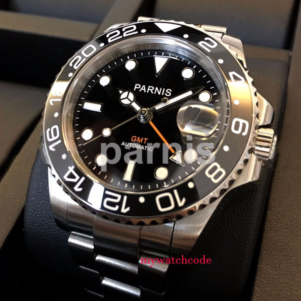 40mm PARNIS black dial luminous Sapphire glass Ceramic bezel GMT automatic mens watch Luxury Brand Top Mechanical Watches