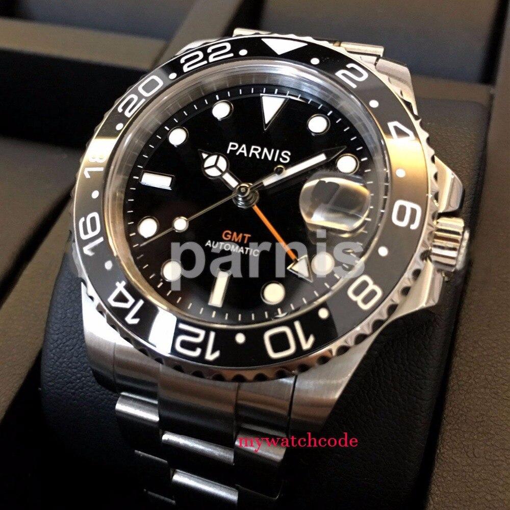 40mm parnis mostrador preto luminoso vidro de safira cerâmica bezel gmt automático relógio masculino marca luxo topo relógios mecânicos