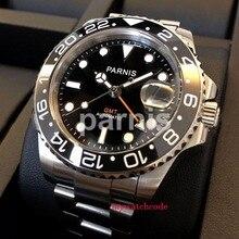 40mm PARNIS black dial luminous Sapphire glass Ceramic bezel GMT automatic mens