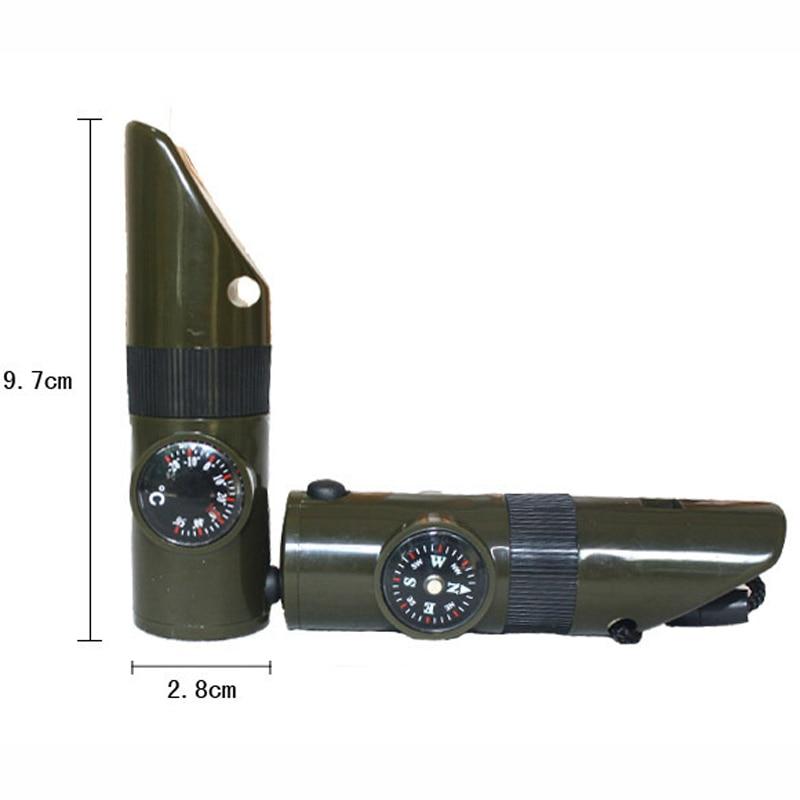 7 в 1 Многофункциональный военного выживания комплект отдых увеличительное Стекло сигнал зеркало свисток компас термометр светодиодные