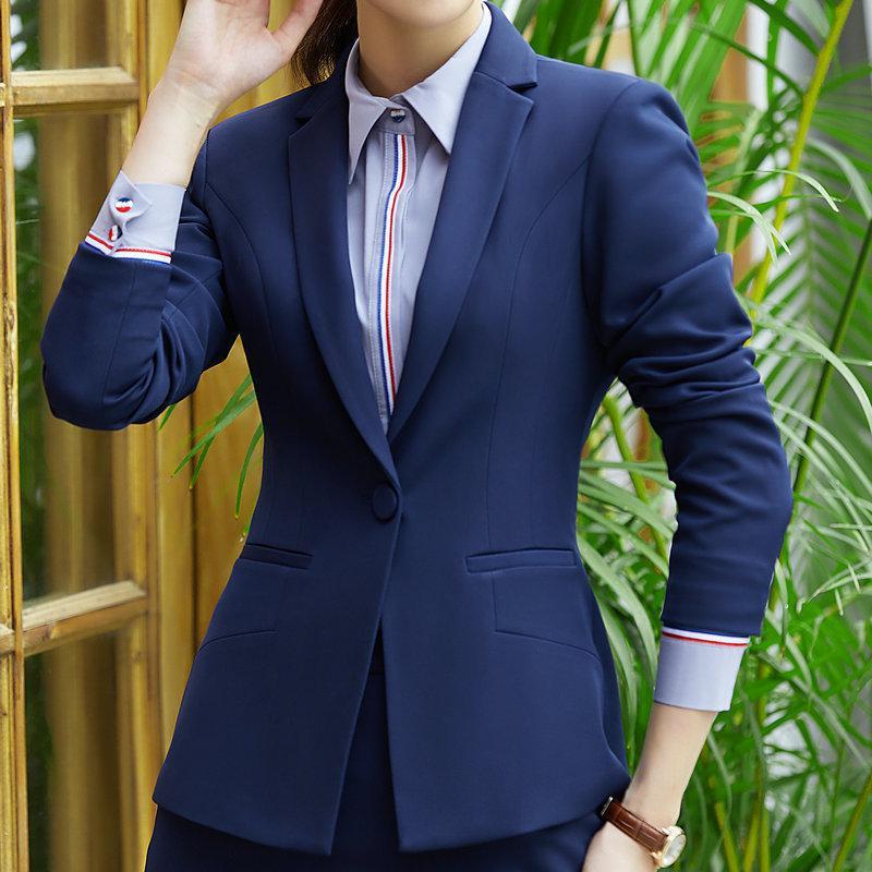النساء أسود أزرق السترة كم قميص حقق الجيب مكتب قمم البدلة السيدات سترات والحلل femenino أنثى jaquetas الأنثوية