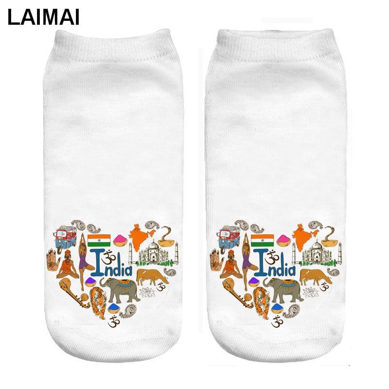 RUNNING CHICK India Love 3d Print Custom Socks Print Wholesale And Dropship