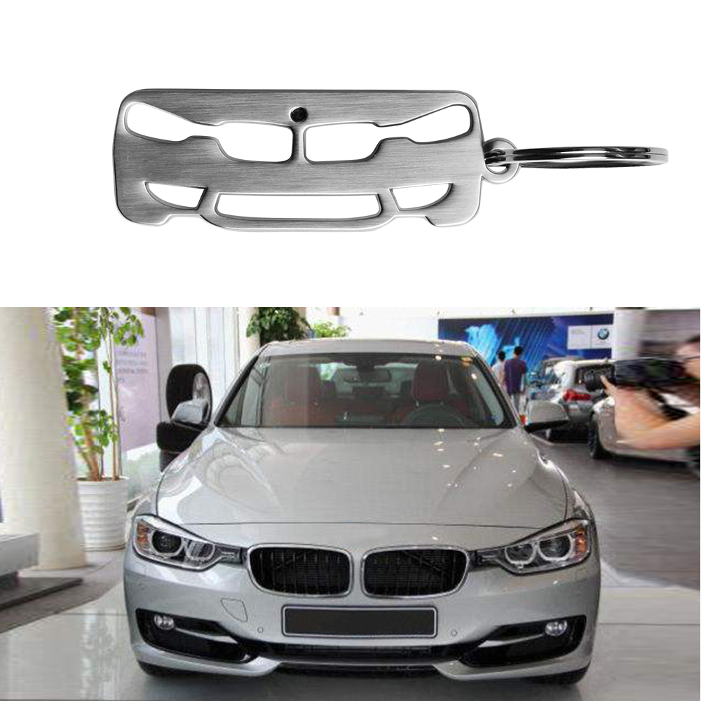 2019 New Silver Zinc Alloy Metal Car Key Chain Key Ring For BMW 3 Series Key Holder image