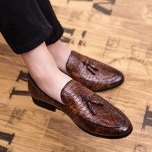 Misalwa Men Slip-on Smoking Slipper Tassel Loafer Wedding Dress Shoes Plus Size Pointed Toe Low Heels Oxfords Boat Driving Flats