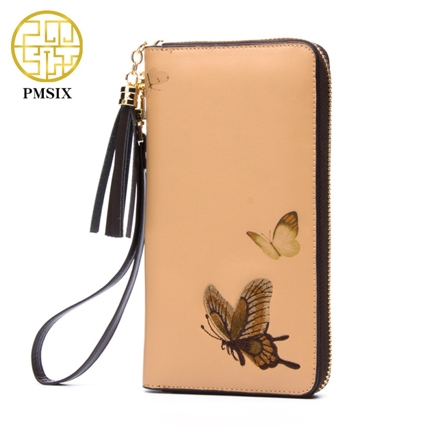 Pmsix Cattle Split Leather Wallet Embroidery Butterfly Woman Purses Apricot Designer Coin Clutch Bag Card Holder 420024