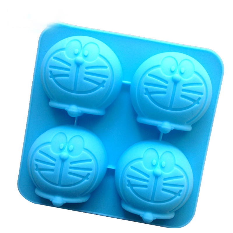 Silicone Candle Mould Cute <font><b>Cat</b></font> Mould Four Hole Machine Small <font><b>Cat</b></font> Soap Mould <font><b>Cake</b></font> Mould Candle DIY Mold image