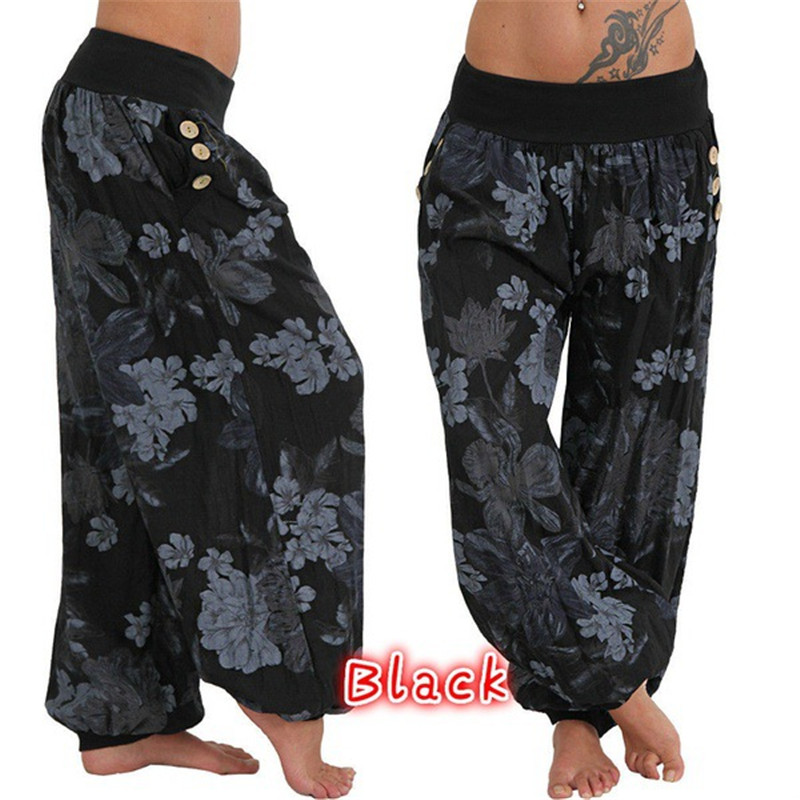 Pant Trousers Jumpsuit Tights Boho Loose Floral-Print High-Waist Sport Baggy Casual Women