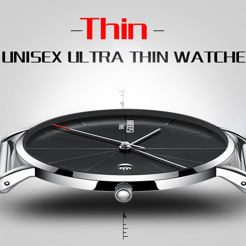 NIBOSI New Men's Watch Ultra-thin Fashion Watches Simple Business Men Quartz Watches Relogio Masculine Male Clock Mesh Band