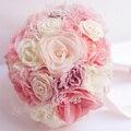 8-дюймовый пользовательские свадебный букет, розовый Коралл свадебный букет ткань, оригинальный ручной шелковой органзы букет, розовый жемчуг букет
