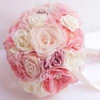 8 дюймовый пользовательские свадебный букет, розовый Коралл свадебный букет ткань, оригинальный ручной шелковой органзы букет, розовый жем