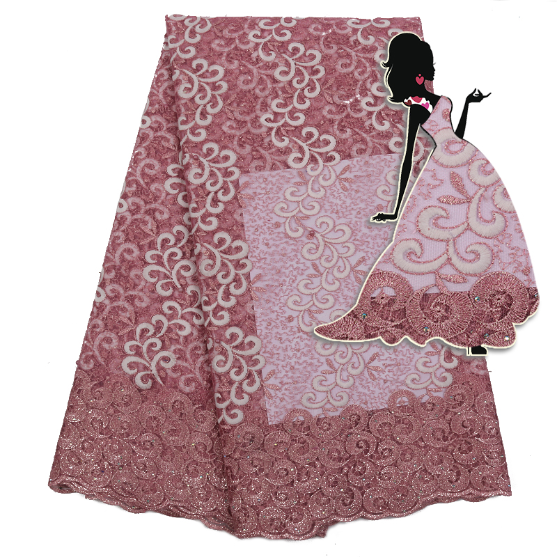 Latest French Lace Fabric Hot Sale African Tulle Lace Fabric Nigerian Embroidered Net Lace With Sequins Beads KS2286B