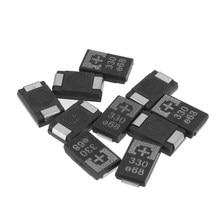 10 шт./лот, танталовые полимерные конденсаторы SMD 2R5TPE330M9, 2,5 в, 330 мкФ, POSCAP, полимерная Емкость