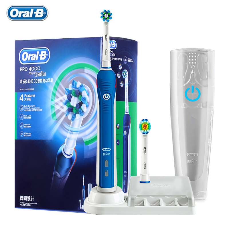Oral B Ultrasonic Electric Toothbrush Pro4000 3D Smart Tooth Whitening Rechargeable Adult Teeth Brush Waterproof Stain