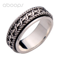 7mm Vintage Black 925 Sterling Silver Twisted Rope Spinner Ring Band Jewelry for Men Women Size 8 9 10 11 Free Shipping