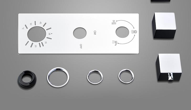 DCAN Bathroom Thermostatic Mixer Valve Brass Chrome Finish Shower Faucet Mixer Valve 3-4 Ways Faucet Bath Faucet Accessories (26)