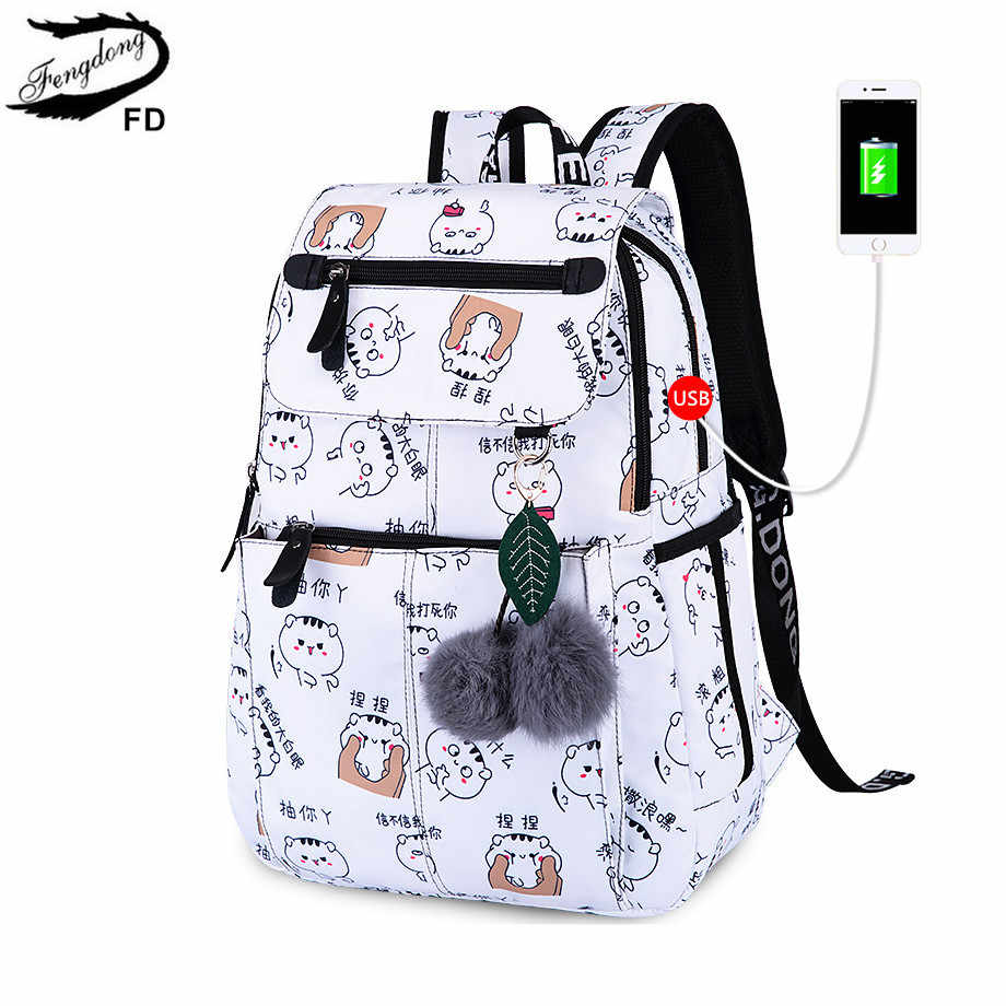 Cute Christmas Gifts For Teenage Girls.Fengdong Brand Backpack For Girls School Bags Female Cute