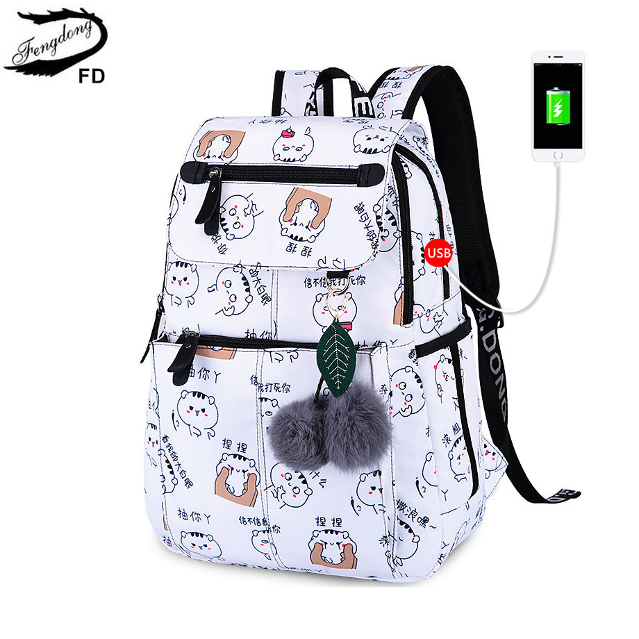 2276fce5b78 FengDong brand backpack for girls school bags female cute cat back bag  backpacks for teenage girls new year girl christmas gift