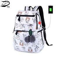 FengDong brand backpack for girls school bags female cute cat back bag backpacks for teenage girls new year girl christmas gift