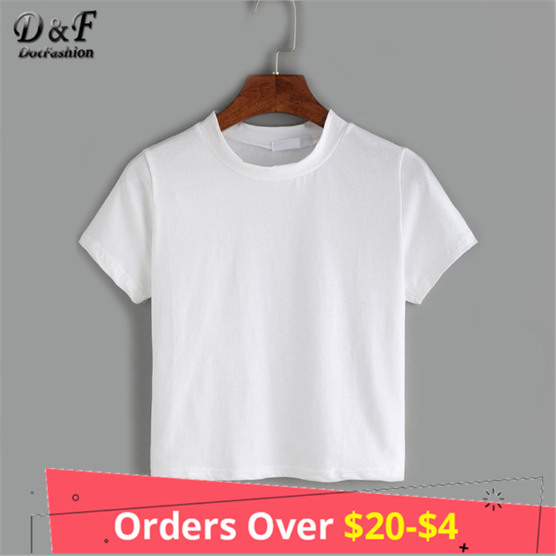 Dotfashion Crew Neck Solid Basic T Shirt Female 2018 White Short Sleeve Tops Summer Casual New Arrival Women T-Shirt white back graphic print crew neck short sleeve men s casual t shirt