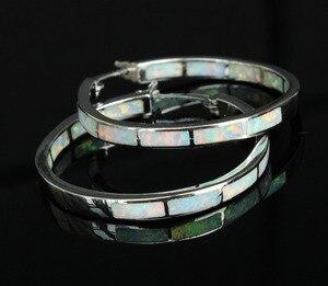 Image 2 - Big blue/white fire opal oorringen voor vrouwen 32mm een diameter van
