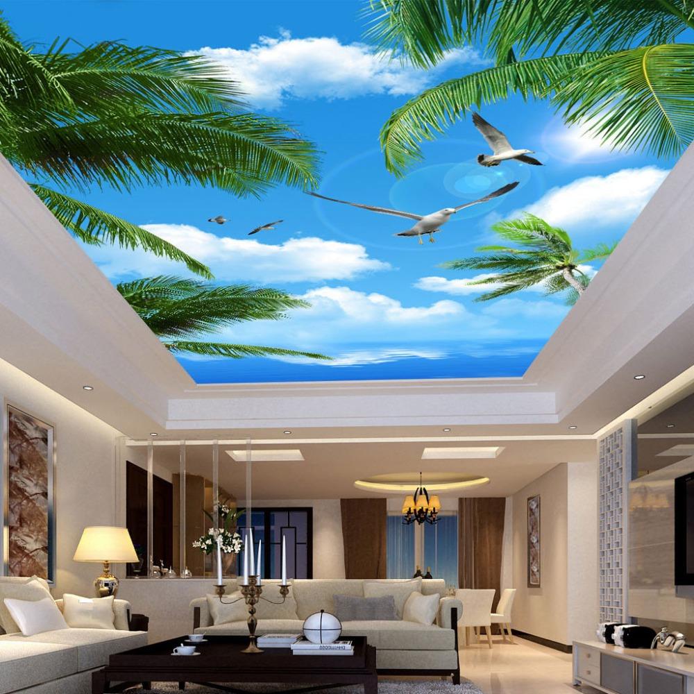 Benutzerdefinierte 3d Fototapete Blauen Himmel Meer Kokospalmen Seevgel Wohnzimmer Abgehngte Decke Vliestapete Mural Tapete